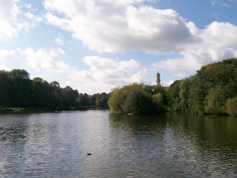 View if the Trent Building and the lake