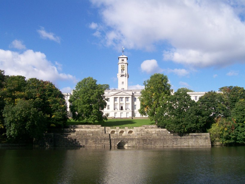 View of the Trent Building across the lake